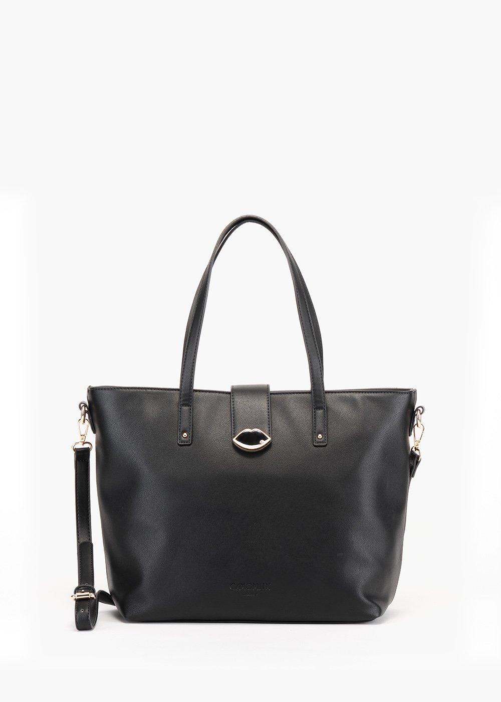 Shopping bag Banny in eco pelle con chiusura zip - Black - Donna