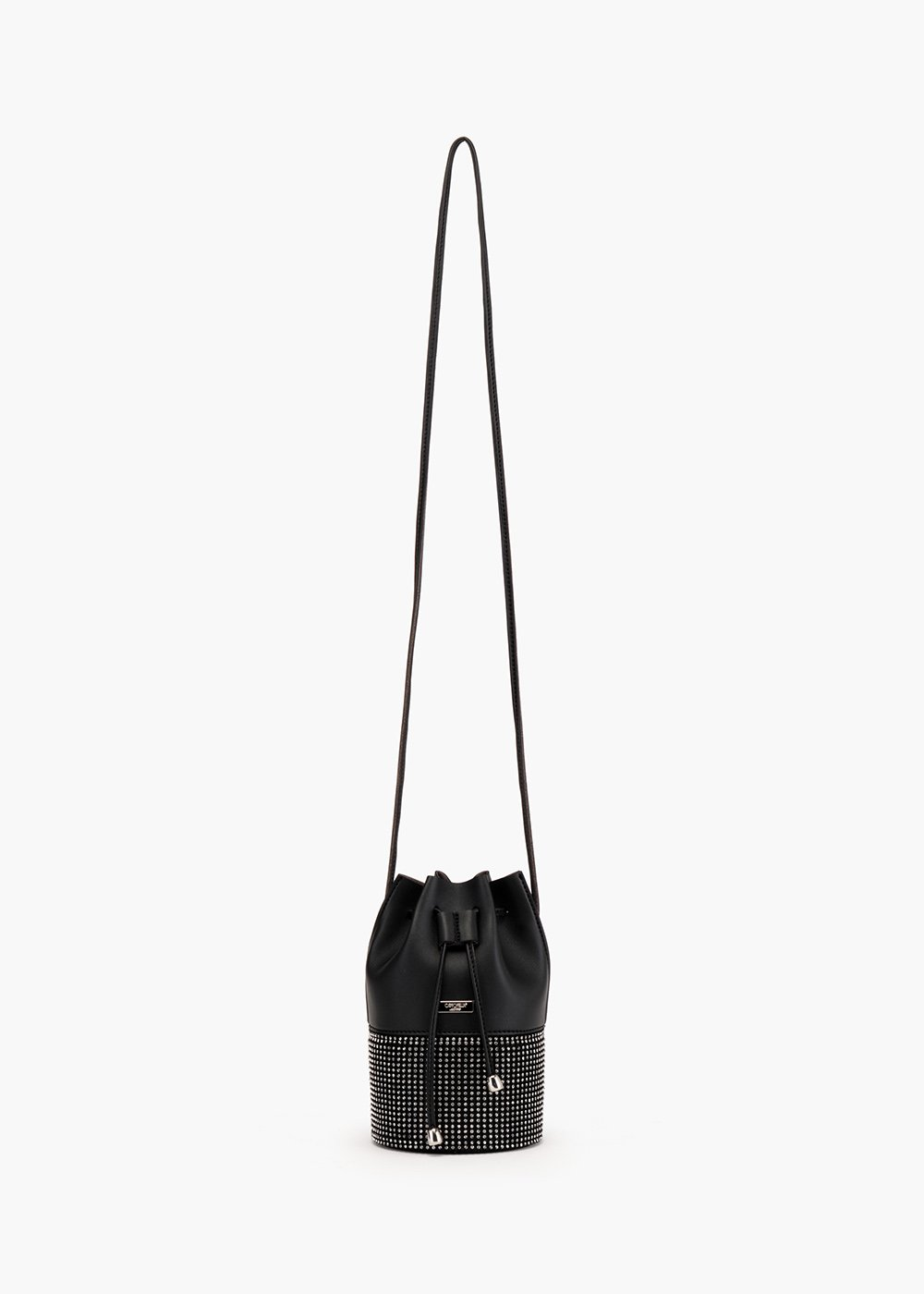Micro Bastien bucket bag in eco leather with micro-rhinestones motif on the bottom - Black - Woman