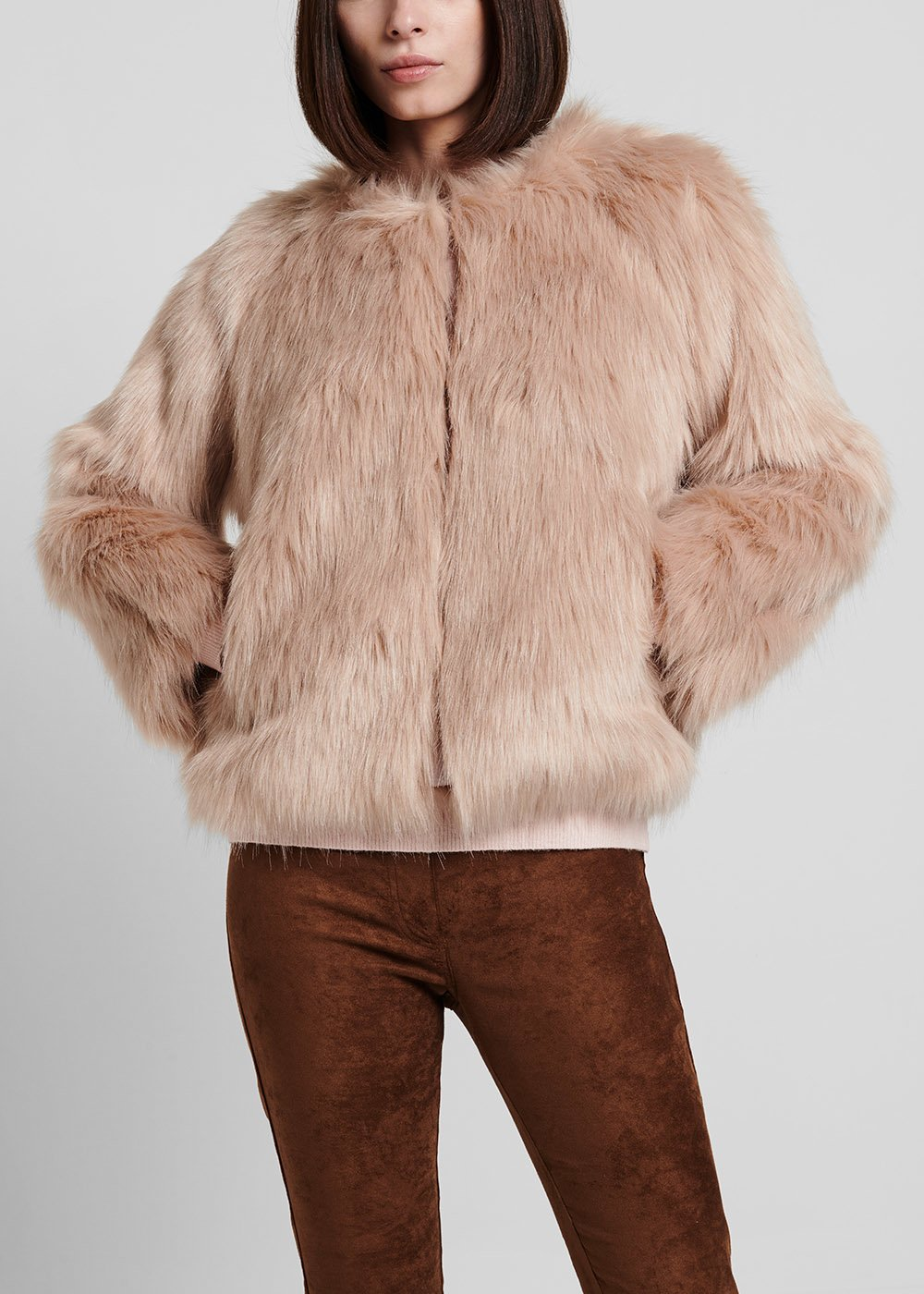 Sepia - coloured faux - fur bomber jacket - Grey - Woman