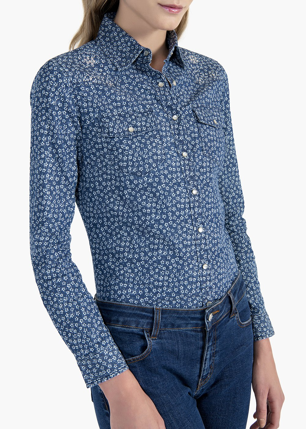 Caren shirt in stretch denim all over print - Denim / White / Fantasia - Woman