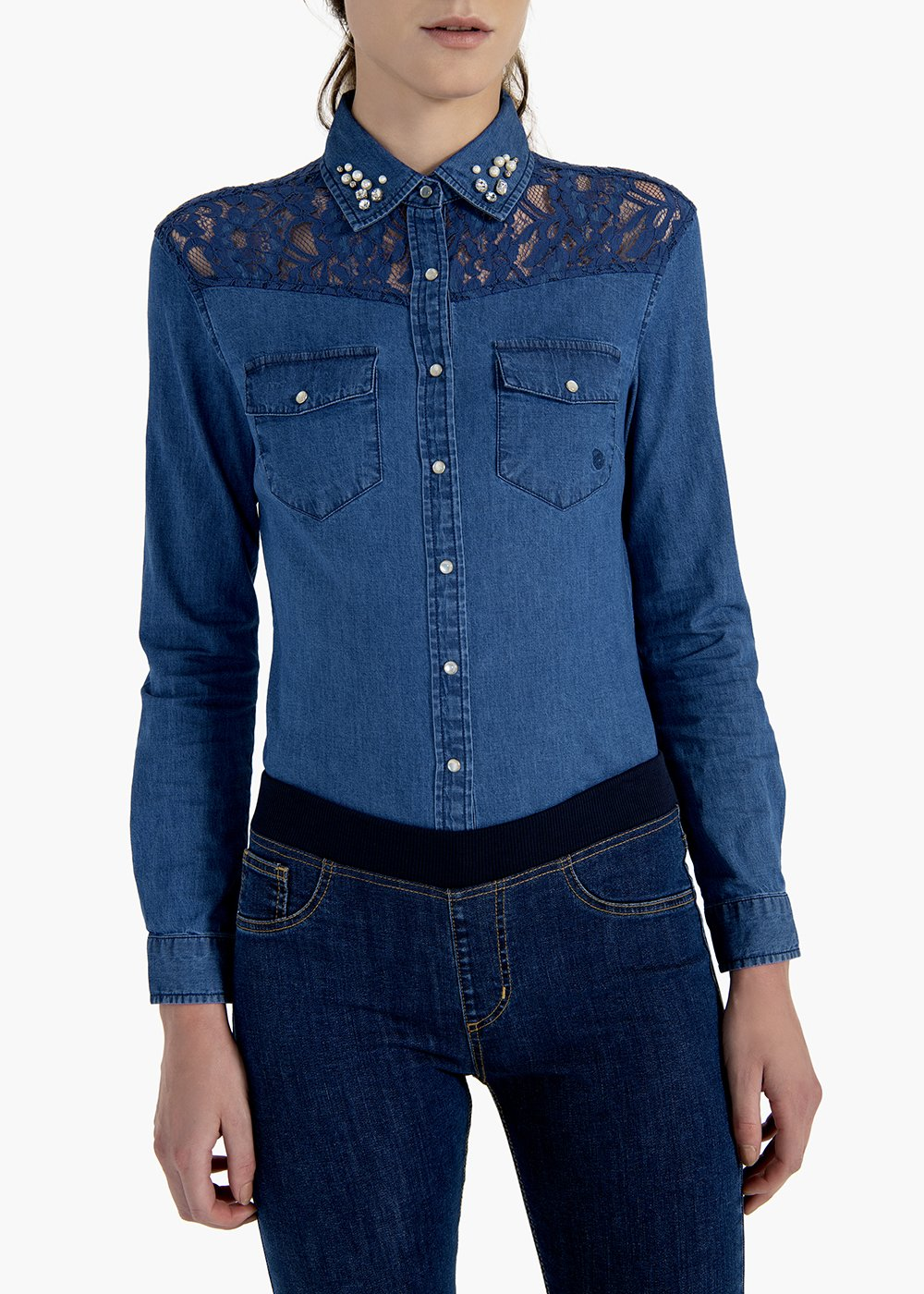 Cris shirt in stretch denim with lace insert - Denim - Woman