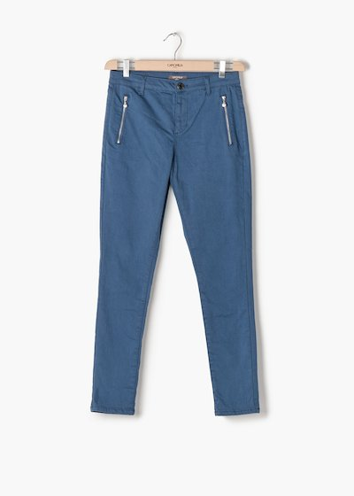 Pantaloni Phil gamba skinny con doppia zip frontale