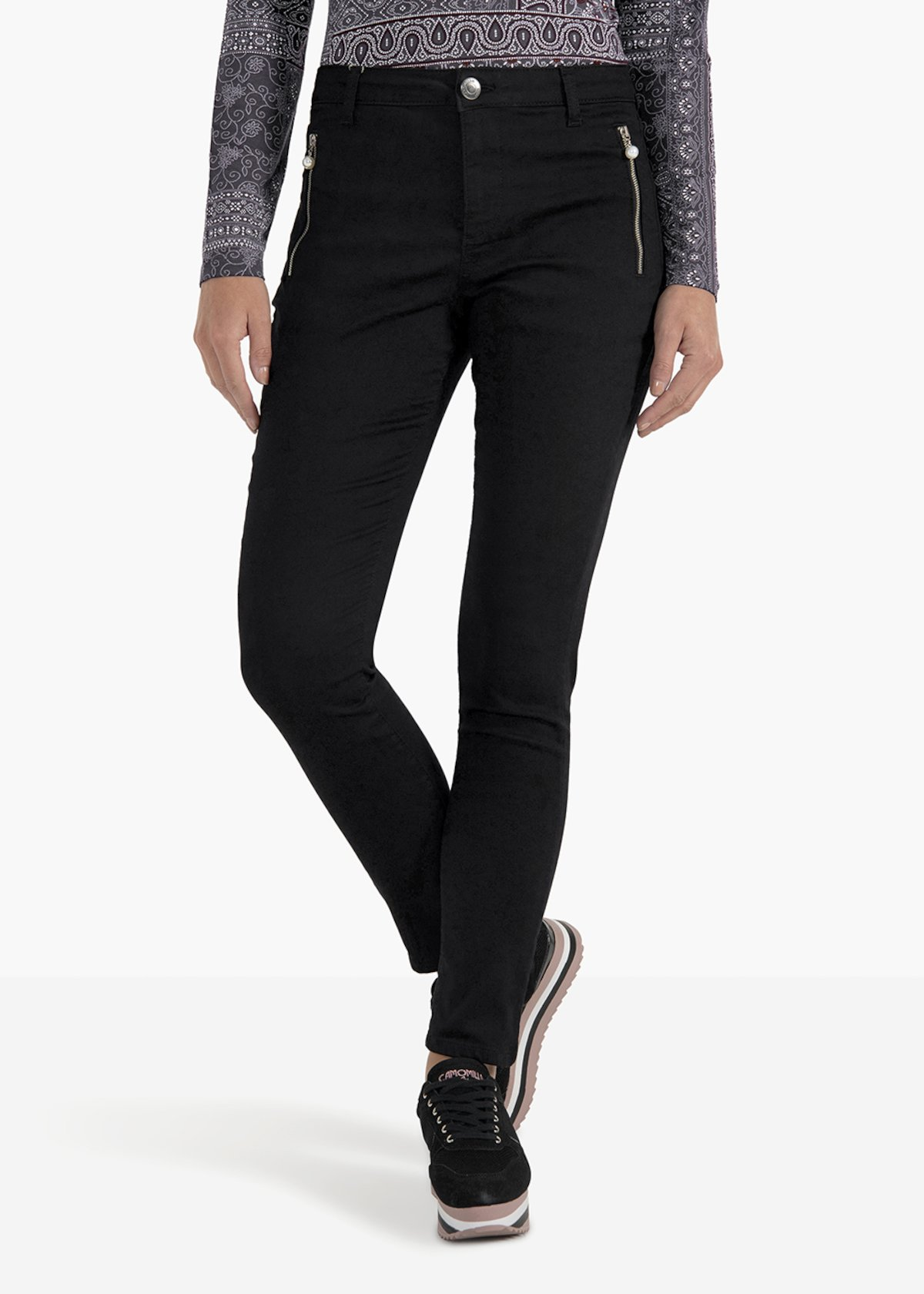 Phil skinny leg trousers with double front zip - Black - Woman