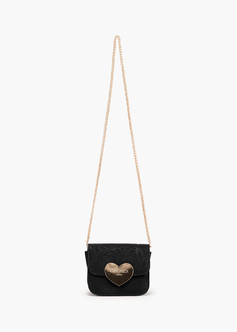 Birch pochette in eco leather with rose design - Black - Woman