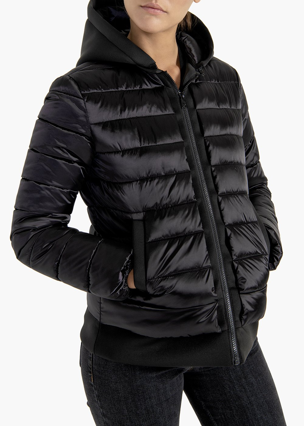Quilted jacket Platon in satin effect fabric with hood - Black - Woman