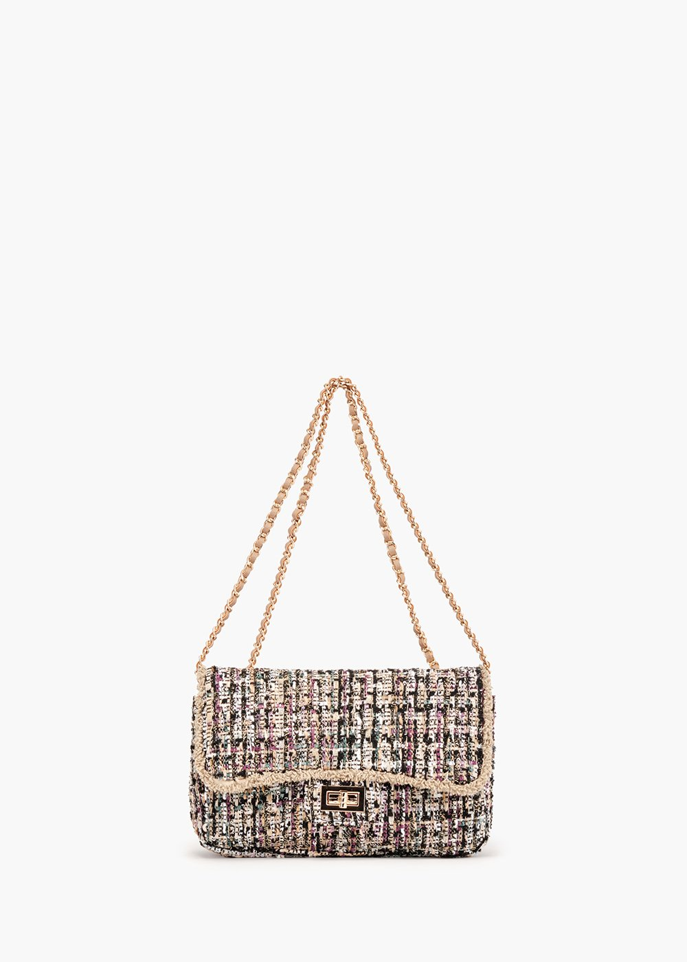 Giada Bouclé shoulder pochette with fringed flap edge