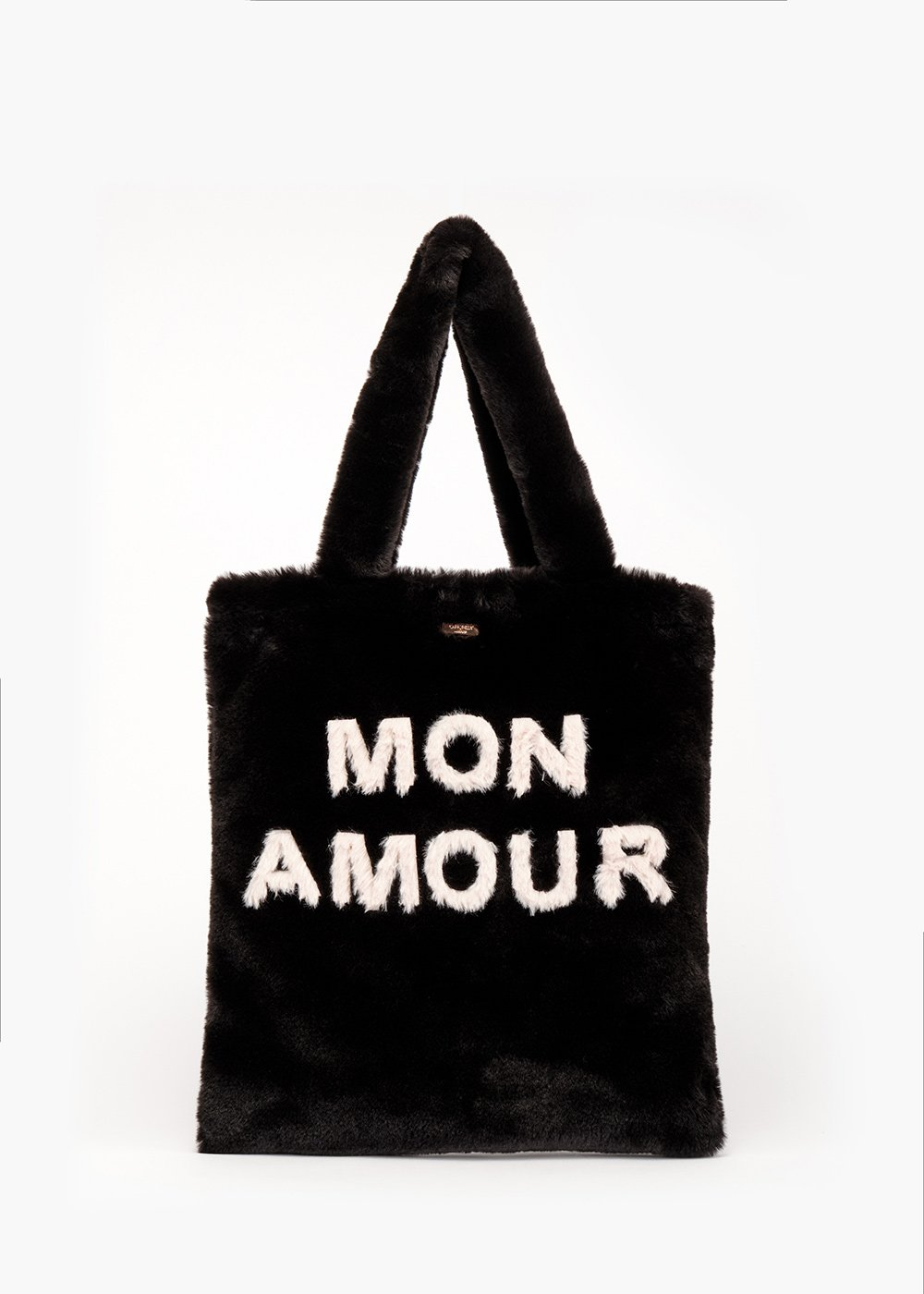 Shopping bag Bonjour in fake fur - Black /   L.beige - Donna