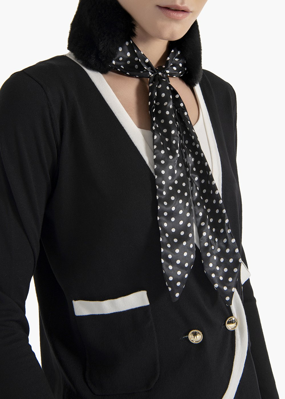 Colletto in pelo Amy con stampa pois - Black / White Pois - Donna
