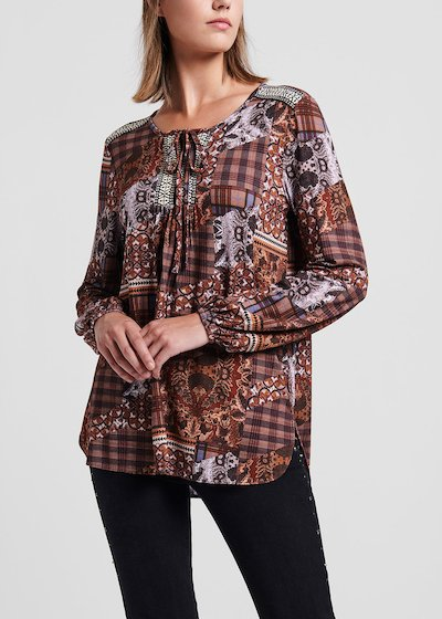 Selen jersey sweater with patchwork pattern