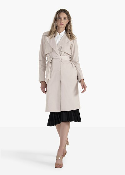 Ted double-breasted trench coat with belt and tortoise-shell buttons