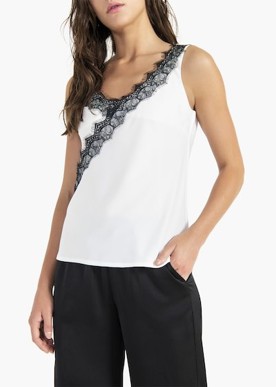 Thery top in satin fabric with V-neck