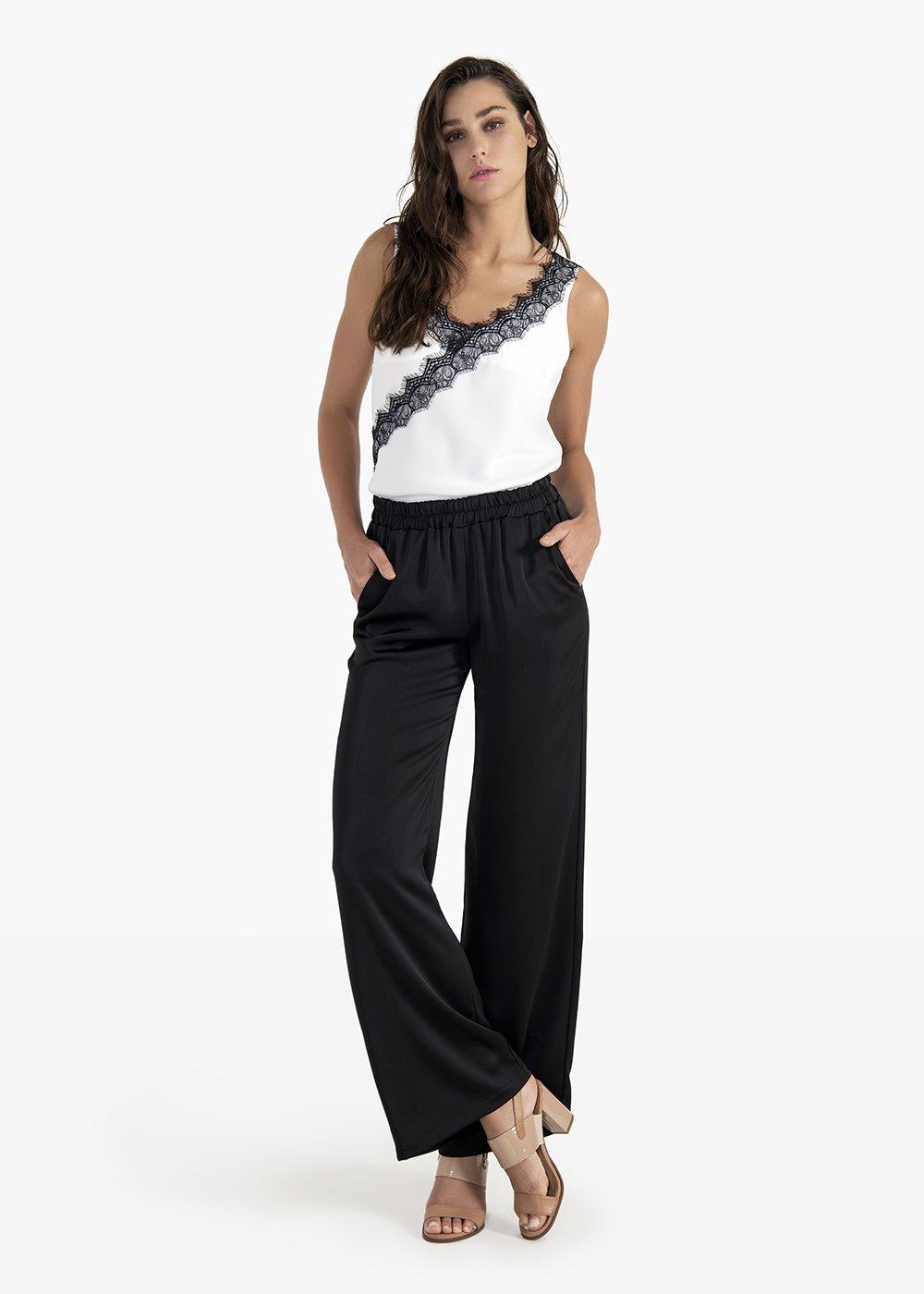 Pantaloni Pedro a palazzo in tessuto satin - Black - Donna