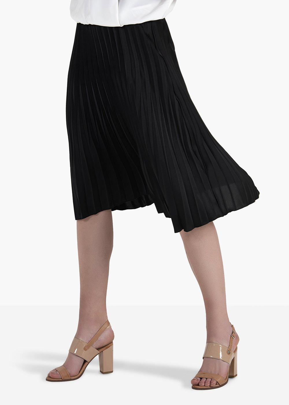 Ginevre pleated skirt with elastic waistband - Black - Woman