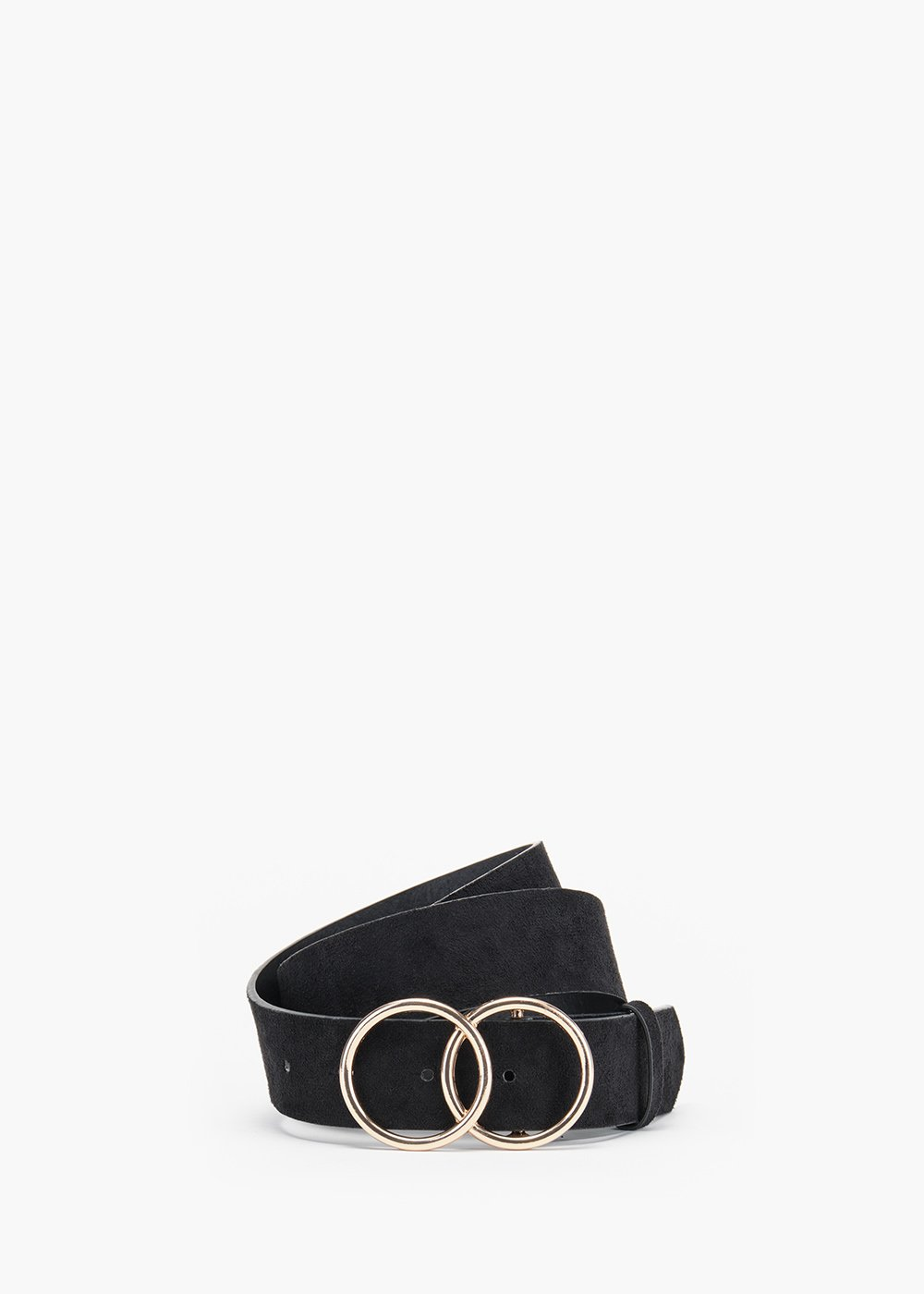 Carly belt in eco leather with double ring closure - Black - Woman