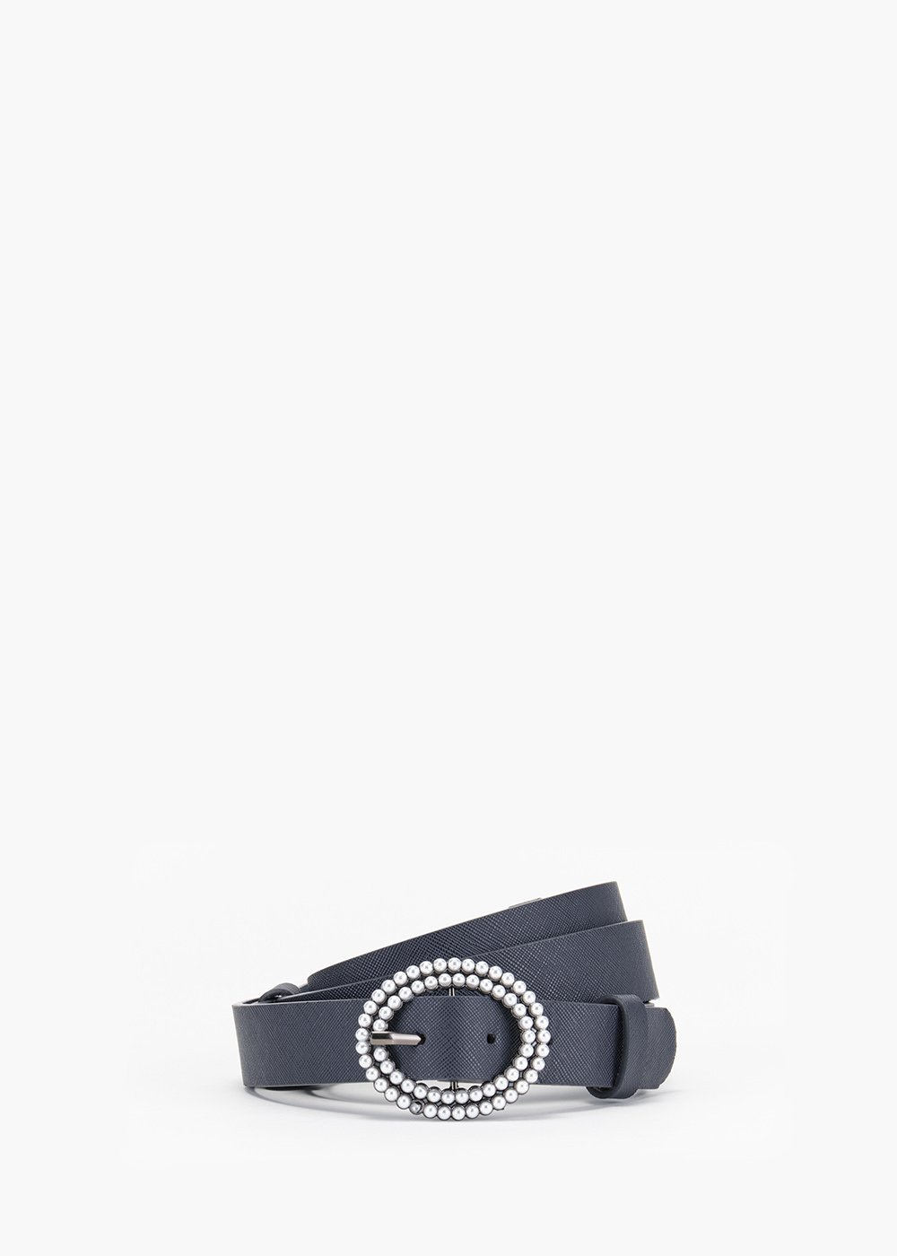 Cher belt in eco leather with micro pearl buckle - Medium Blue - Woman