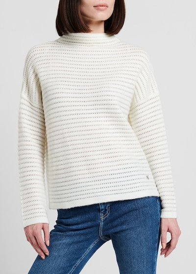 Merry sweater with crater neck and tone-on-tone stripe effect