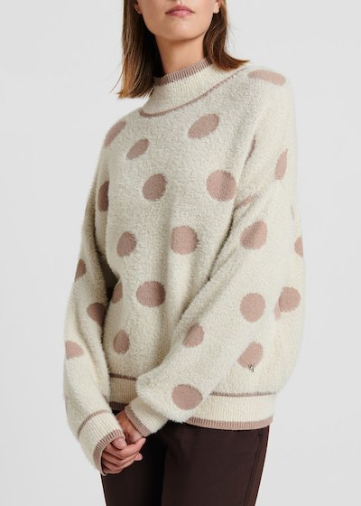 Light beige viscose sweater with fur effect fabric with polka dots
