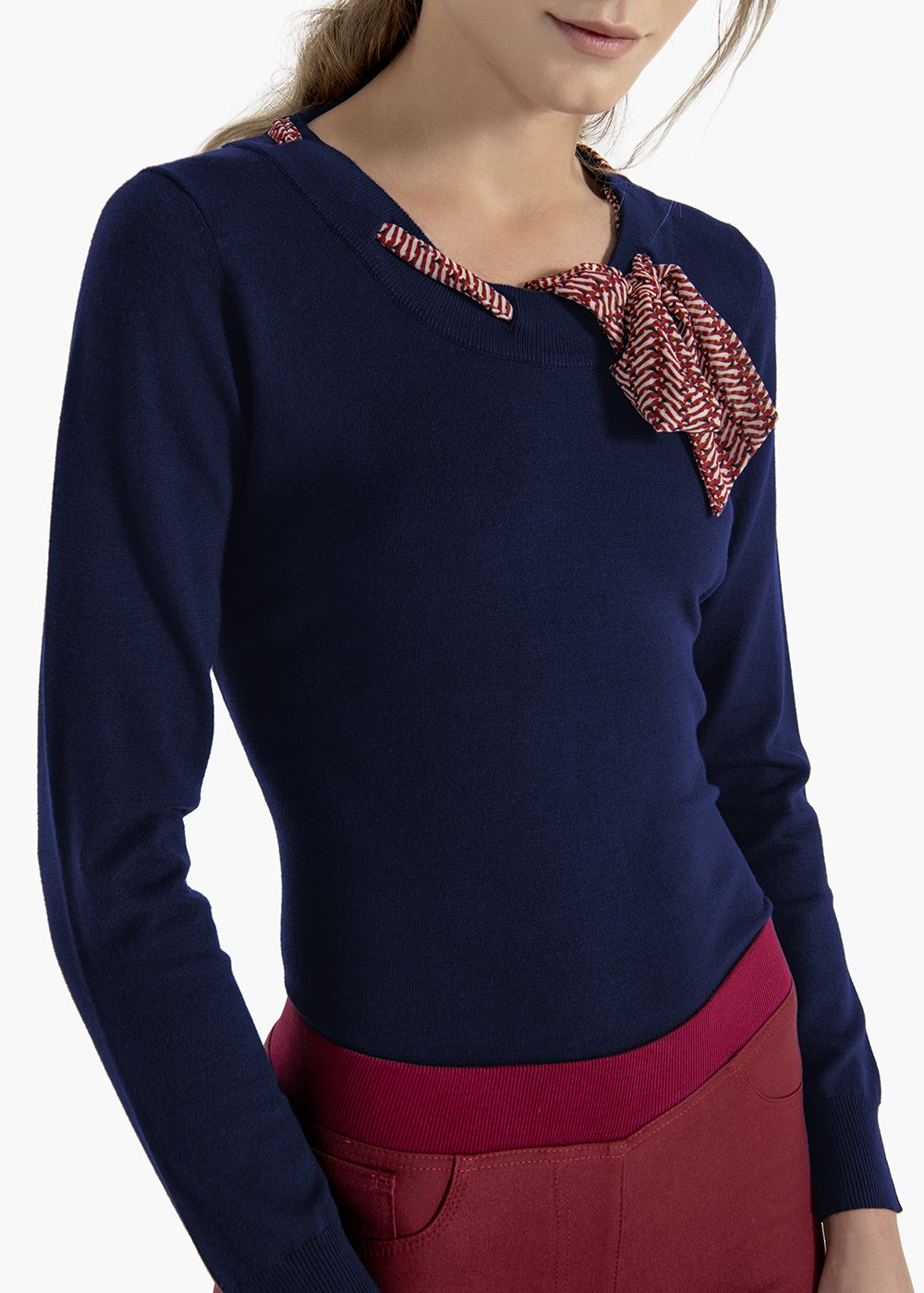 T-shirt Morena in viscose with scarf in georgette - Medium Blue - Woman