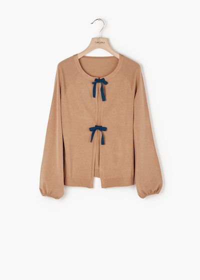 Cardigan Clair in jersey con maniche a sbuffo