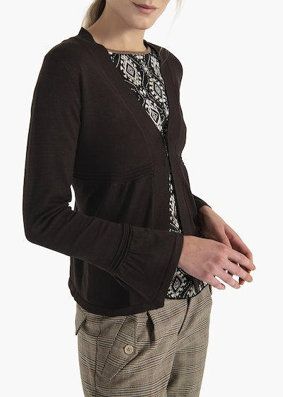 Viscose cardigan Colbys with hooks and flounce at the cuffs