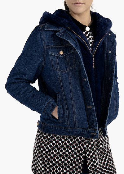 Jacket Glady in denim with eco-fur hood