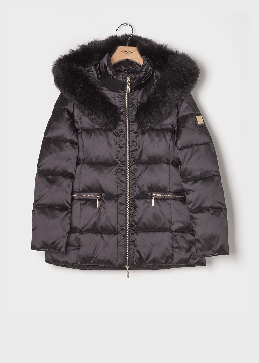 Short down jacket with faux-fur hood - Black - Woman