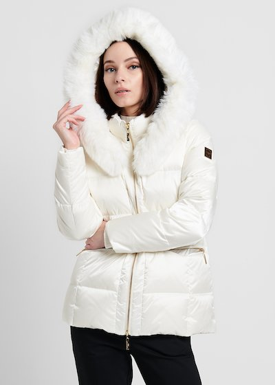 Short down jacket with faux-fur hood