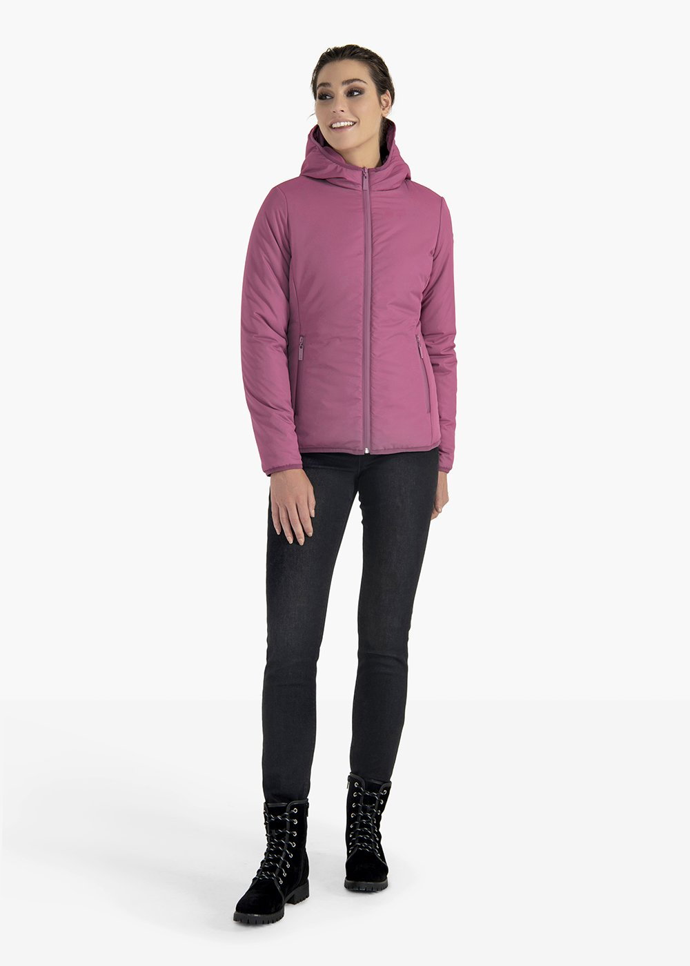 Greg hooded fabric jacket - Rasberry - Woman