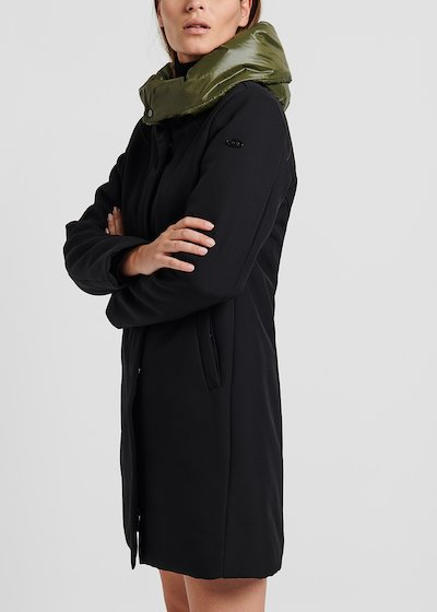 Coat in technical fabric with hood