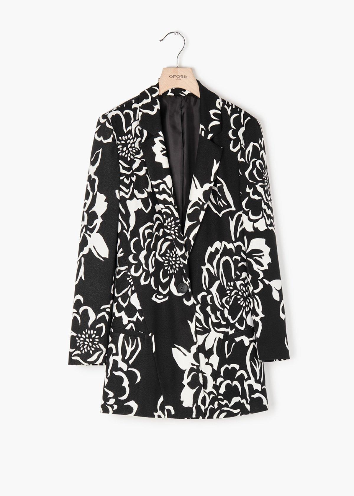 Glady jacket in floral print crêpe - Black / White Fantasia - Woman