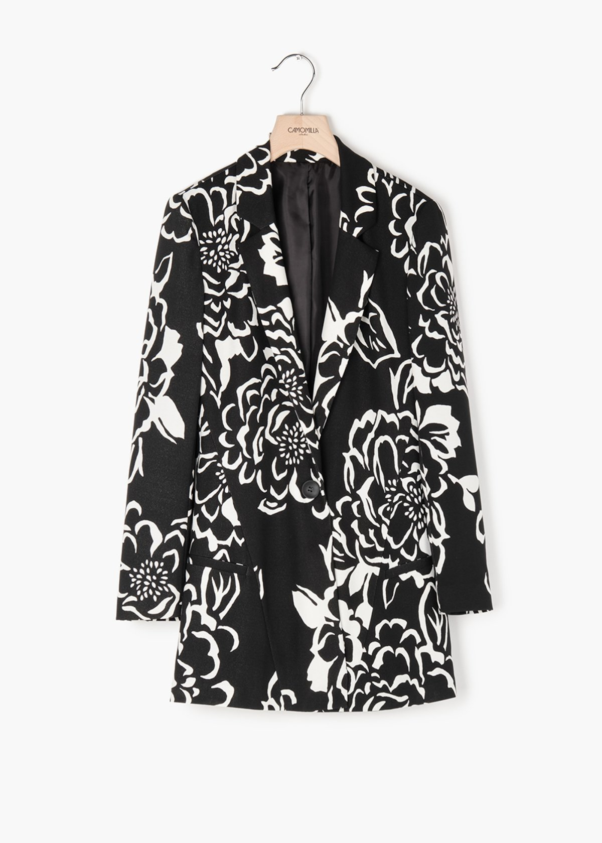 Glady jacket in floral print crêpe - Black / White Fantasia - Woman