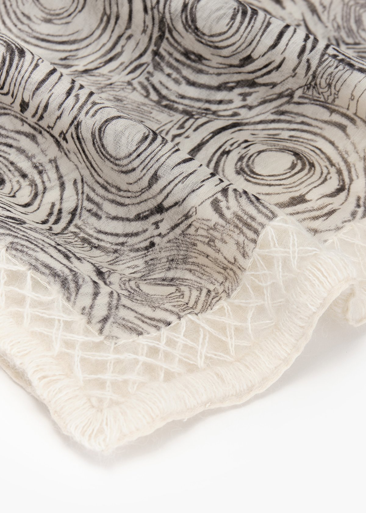 Silvia scarf in wool and silk with rose print - Black / White Fantasia - Woman