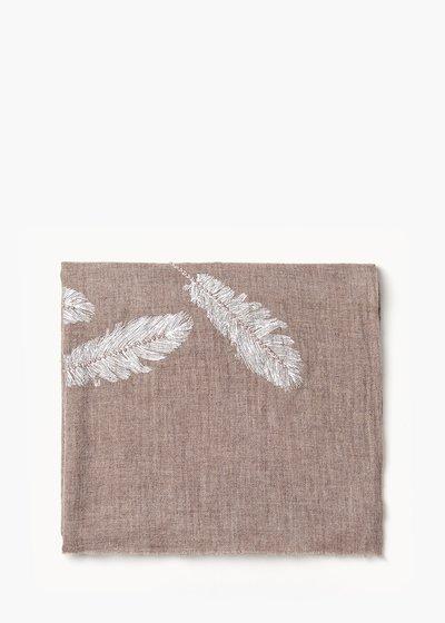 Sciarpa Skinn in lana con ricamo fiori
