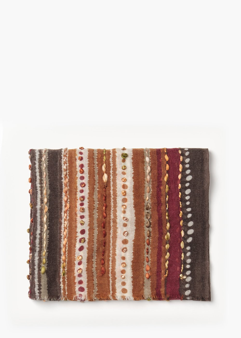 Sphere wool scarf with embrodery - Grezzo / Land Stripes - Woman