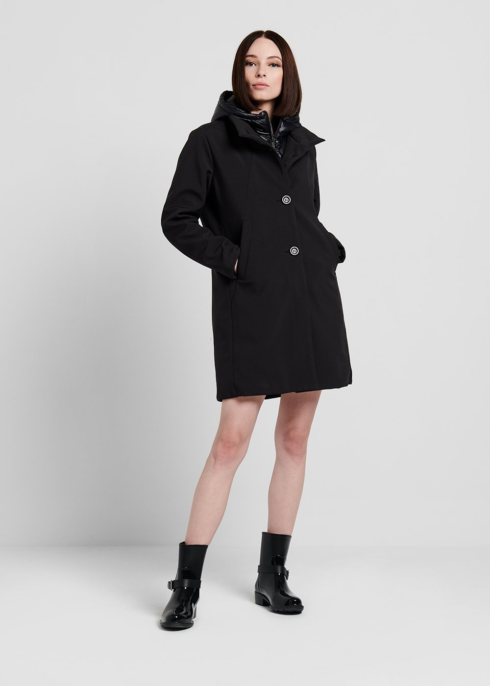 Conan coat in technical fabric with nylon bib - Black - Woman