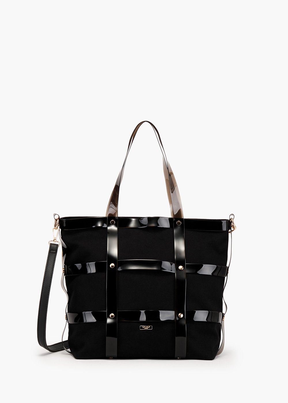 Beyon shopping bag cage model in canvas and vinyl - Black - Woman