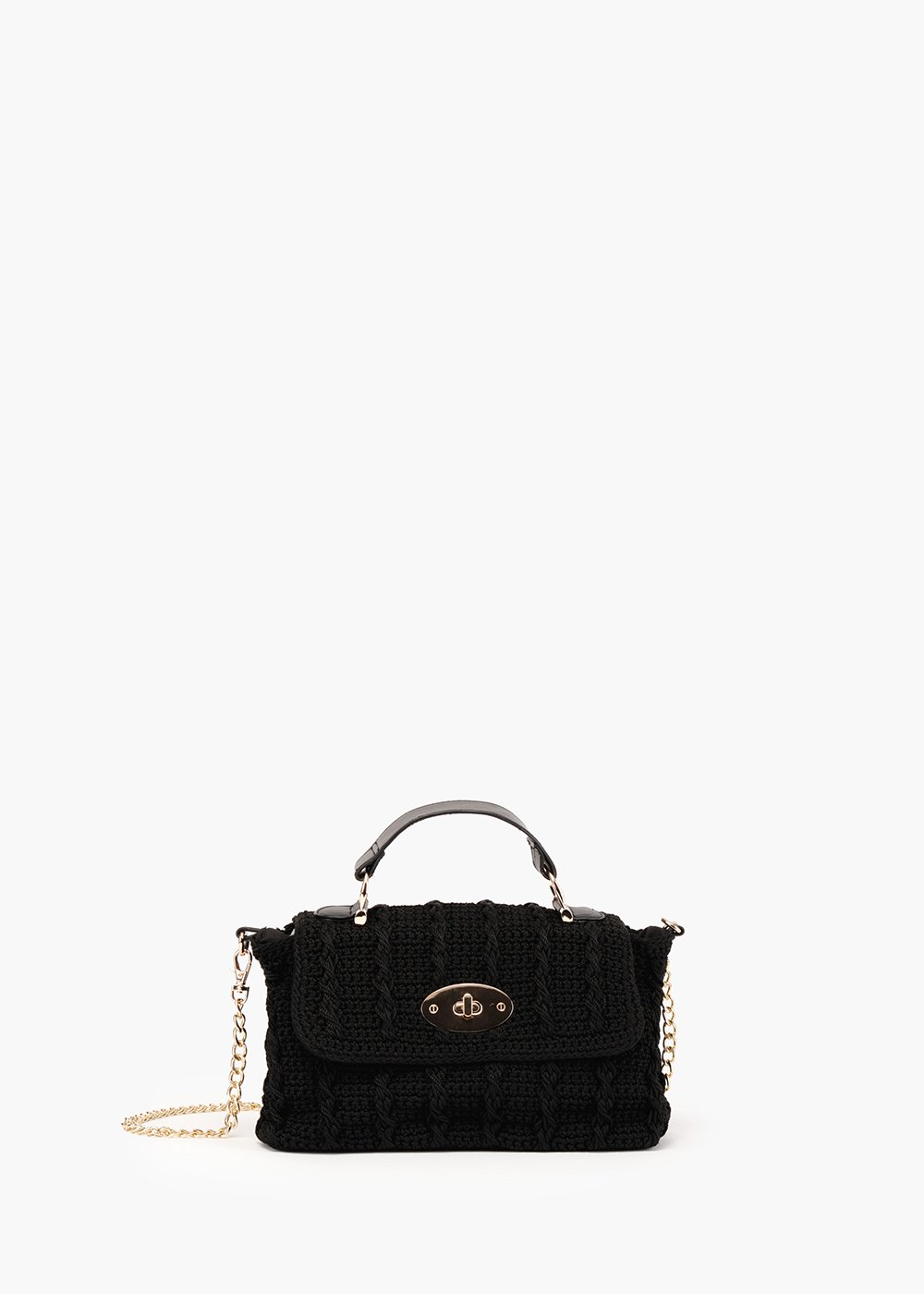 Byl pochette in crochet and eco leather appliqués - Black - Woman