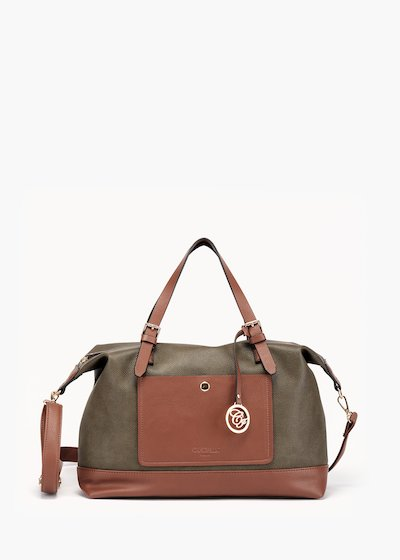 Bowler bag Bessie with front pocket in eco leather
