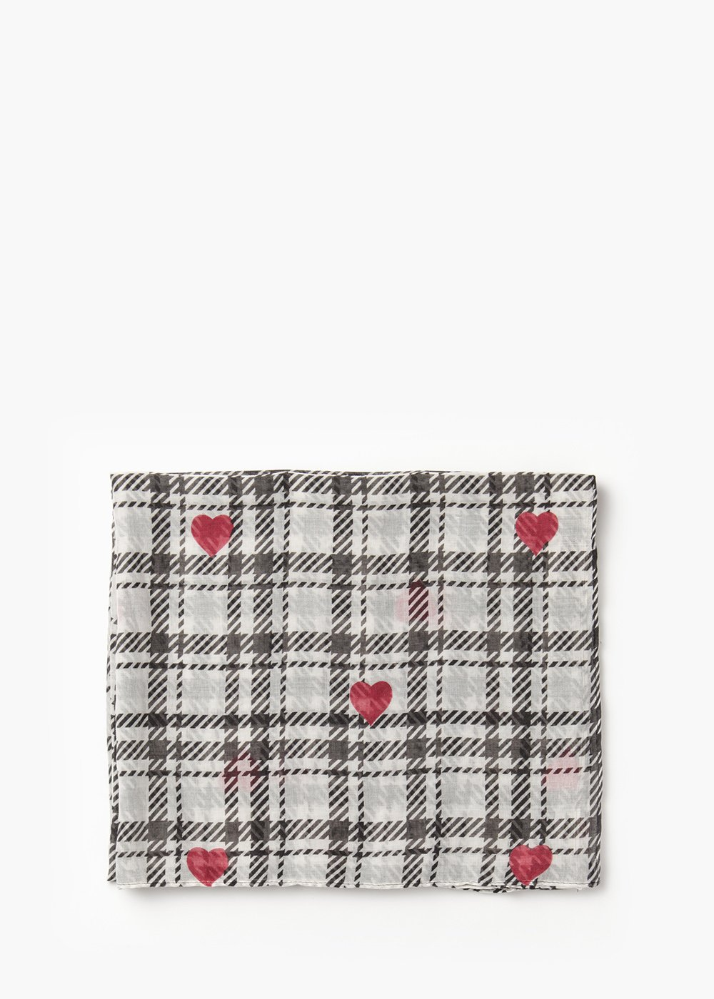 Sonya scarf with check print and red hearts - White / Black Fantasia - Woman