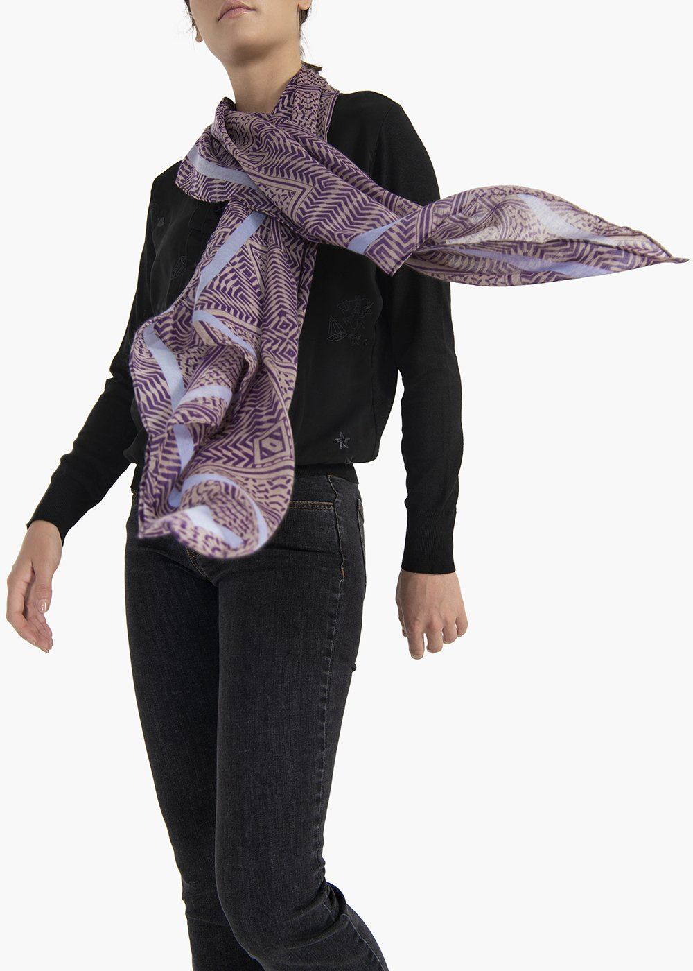 Sindy multicolour scarf with geometric designs - Polvere  /   Notte Fantasia - Woman