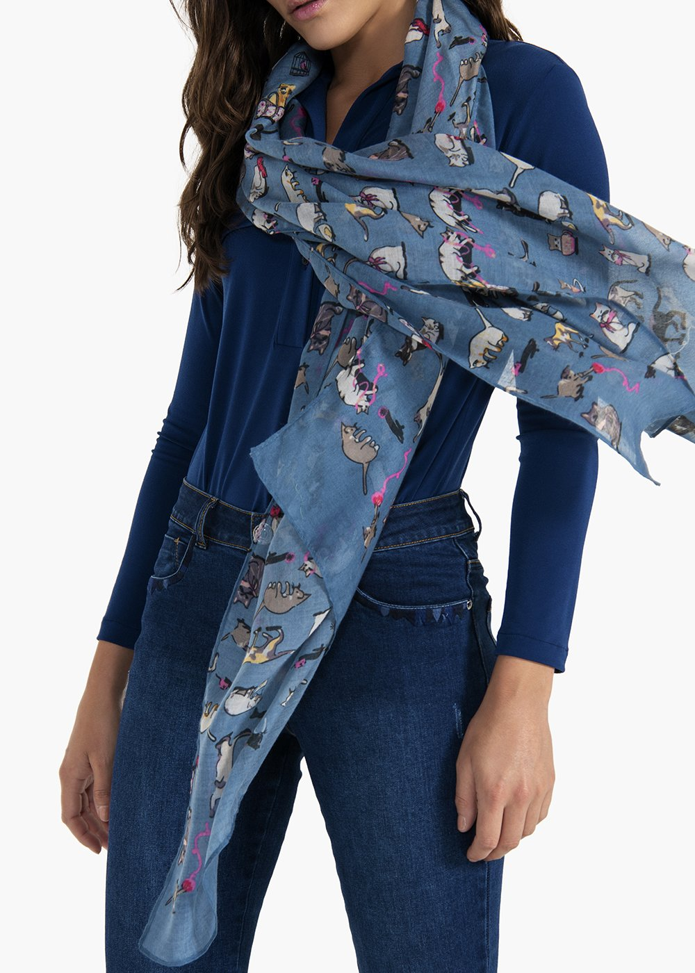 Shany scarf with cat pattern - Acciaio / Fantasia - Woman