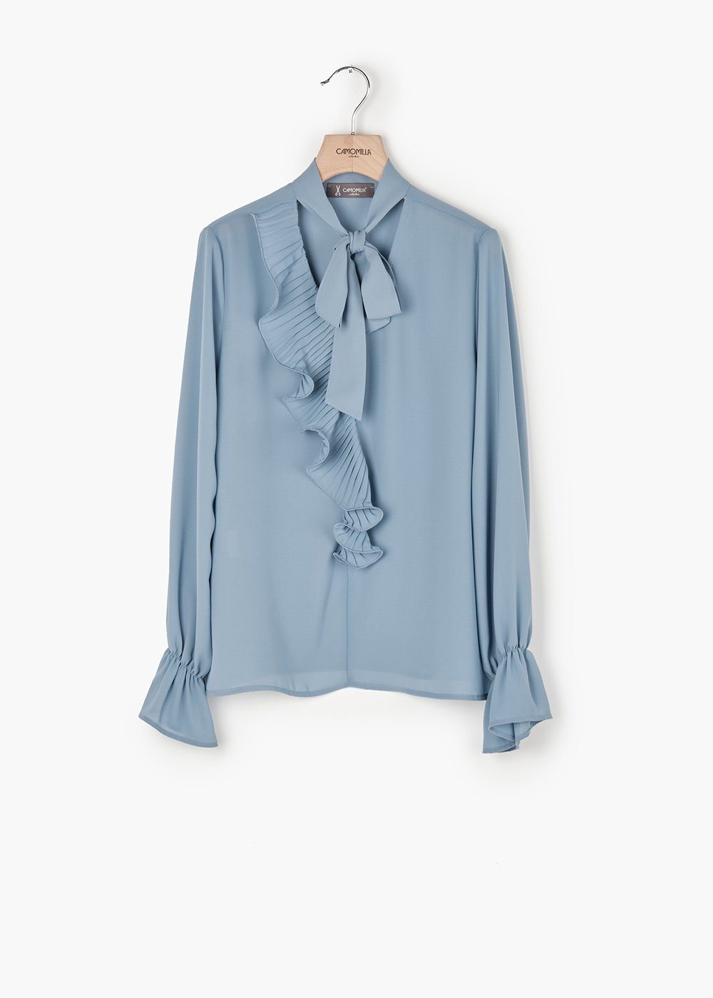 Cyprien georgette shirt with V-neck - Materia - Woman