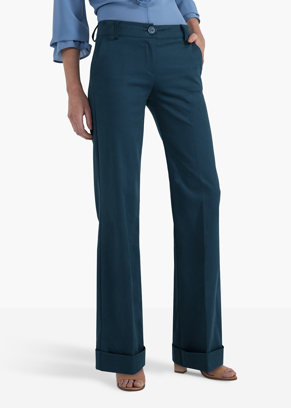 Pilad flared trousers with turn-up at the bottom - Blue - Woman