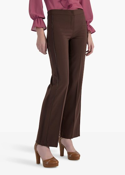 Pegaso trousers in technical fabric with double side piping
