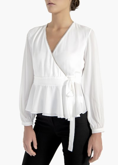 Racer blouse Cael in georgette fabric with ribbon