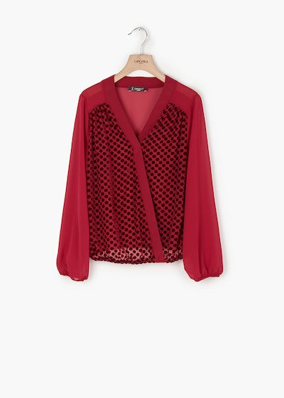 Racer neck blouse Coel in georgette and pois flock detail