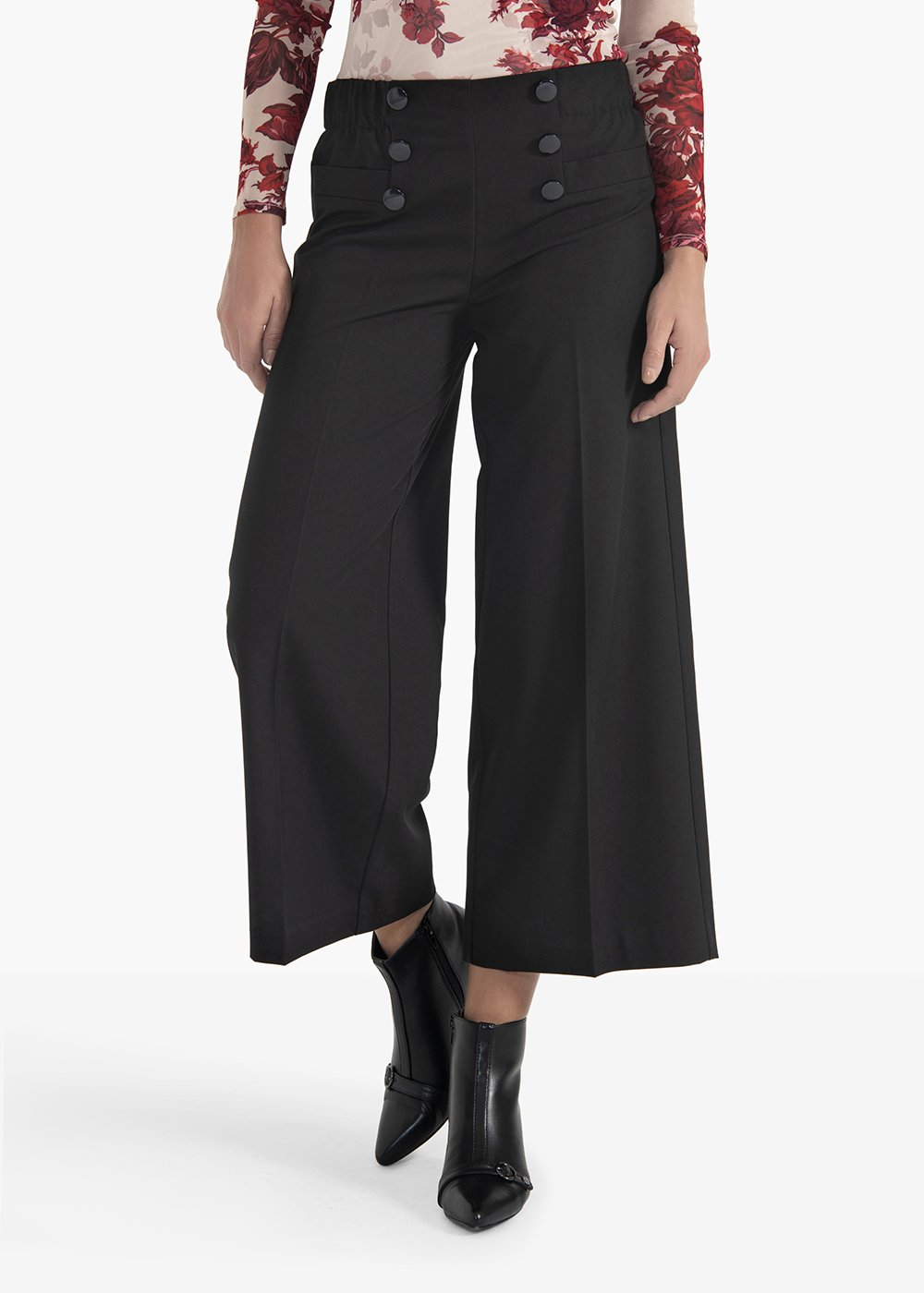 Short palazzo trousers Poel with buttons in weist detail - Black - Woman
