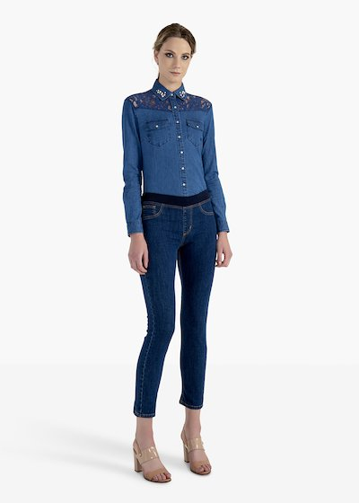Pantaloni Kelly in denim stretch con elastico