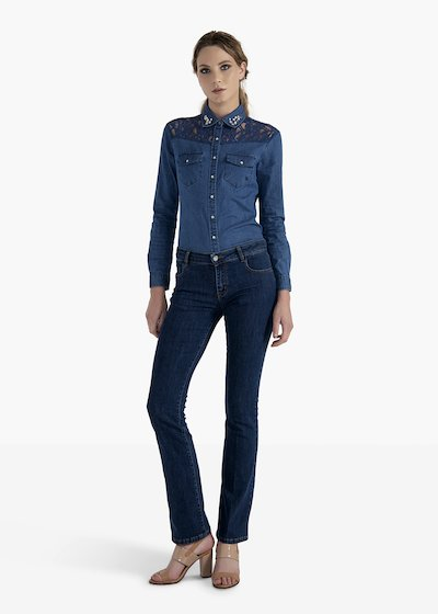 Flared jeans Cindy with tobacco-coloured stitching