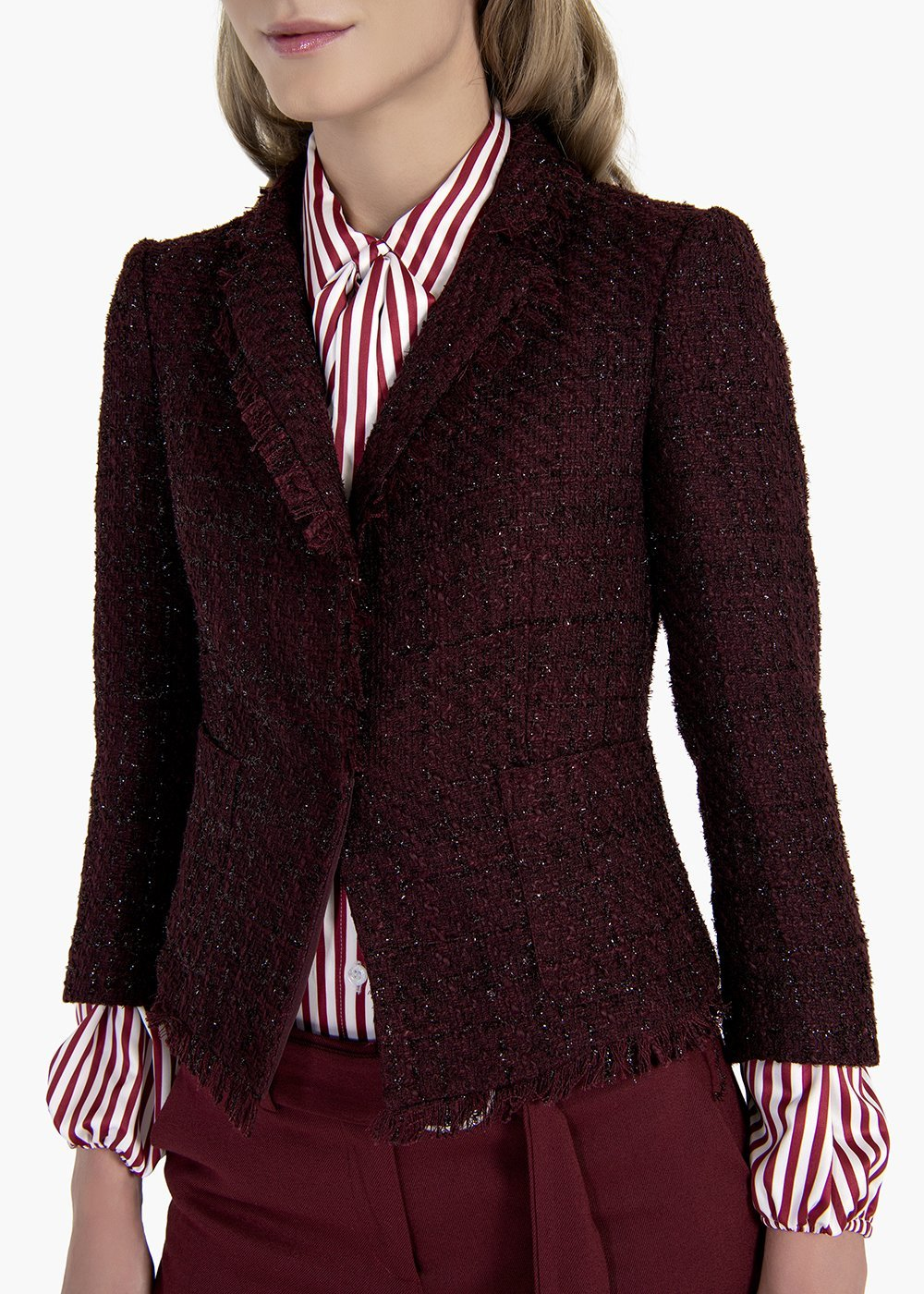 Jacket Gloria in bouclè fabric with lurex - Black cherry - Woman